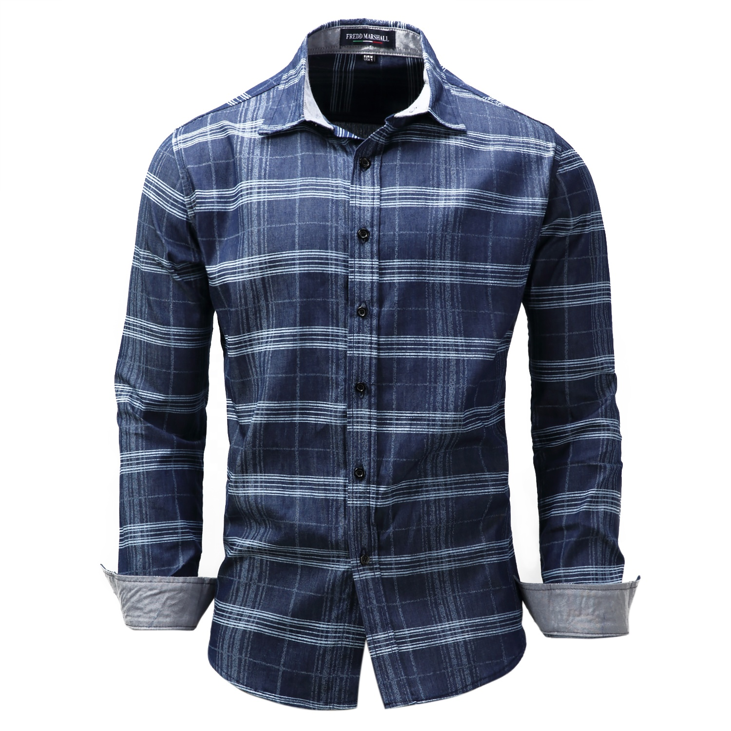 The newest dress 100% cotton custom brand plaid shirt for man фото