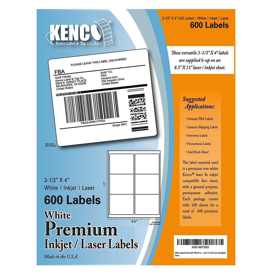 buy 600 labels kenco fba 6 up 3 1 3 x 4 shipping labels premium
