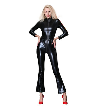 Women Wide leg Catsuit 2Way Zipper dancer costume cosplay Halloween jumpsuit