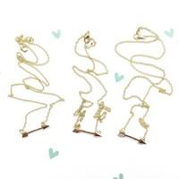14k Gold Necklace With Arrow Pendant Delicate Arrow Necklace