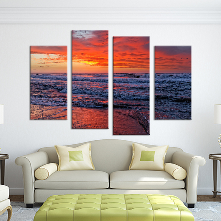 Free Shipping 4pcs Shell Pearl Beach Wall Painting Print: Ocean Beach Paintings Promotion-Shop For Promotional Ocean