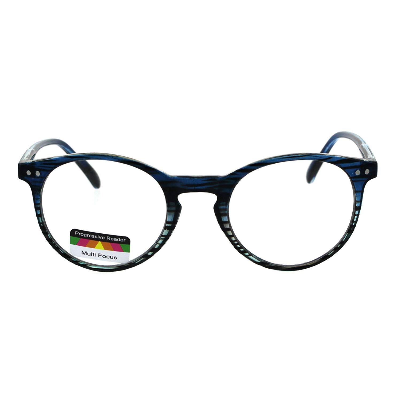 698f90a8a065 Get Quotations · Round Keyhole Thin Plastic Horn Rim Tri-focal Progressive  Reader Eyeglasses