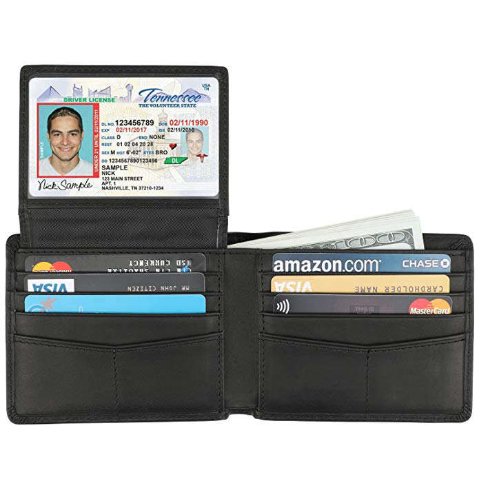 Genuine Leather RFID Blocking Bifold Stylish Mens <strong>Wallet</strong> With 2 ID Window