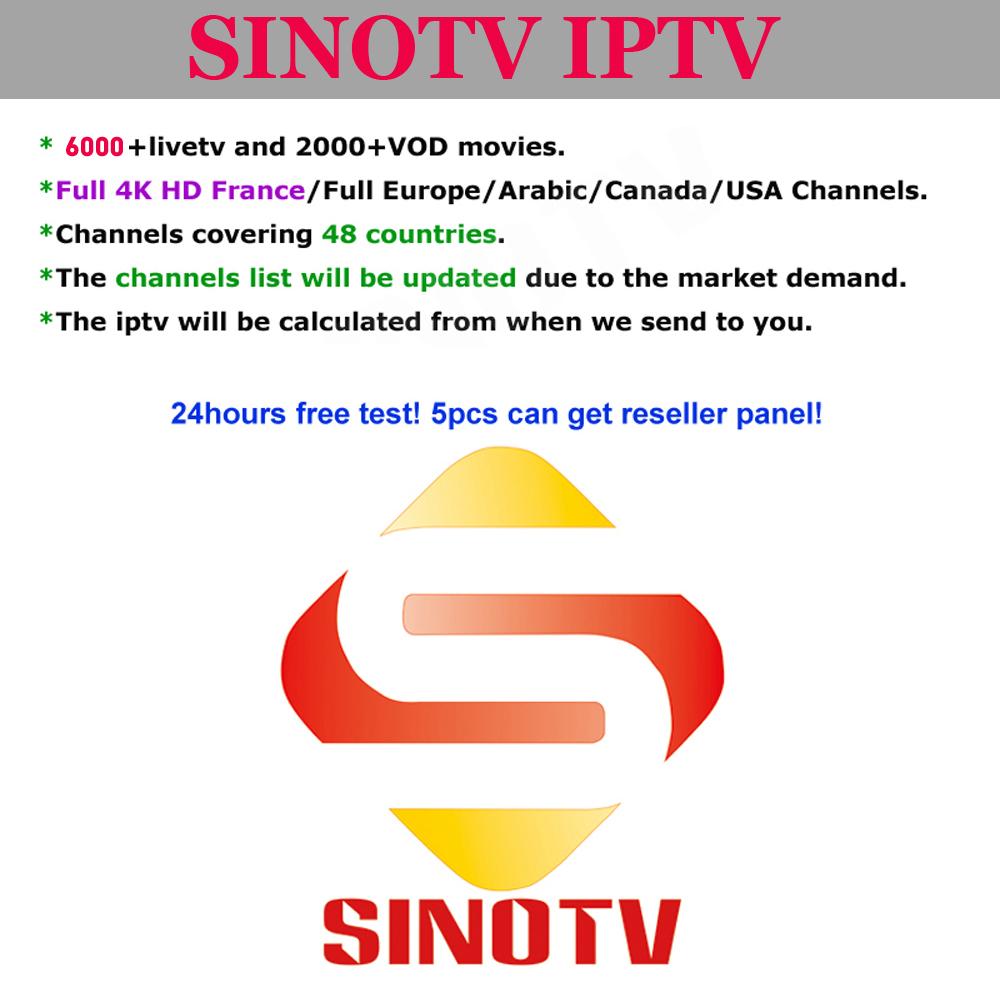 Rivenditore Iptv SINOTV con Amdin Pannello 4 k Server di Streaming iptv arabo 4 k 2019 Migliore HD Iptv Conto Latino iptv