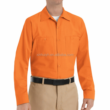 High Quality Factory Wholesale Customize Workmen Shirt Orange Long Sleeve  Industrial Work Shirt - Buy Customize Workmen Shirt,Orange Long Sleeve