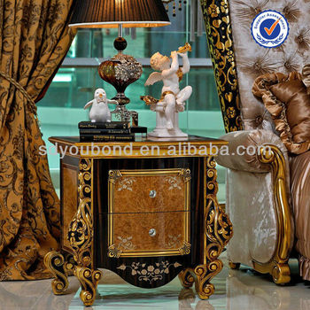 0061 Italy Design Elegant Solid Wood Furniture Gold Foil Luxury Classic  Bedside Night Table