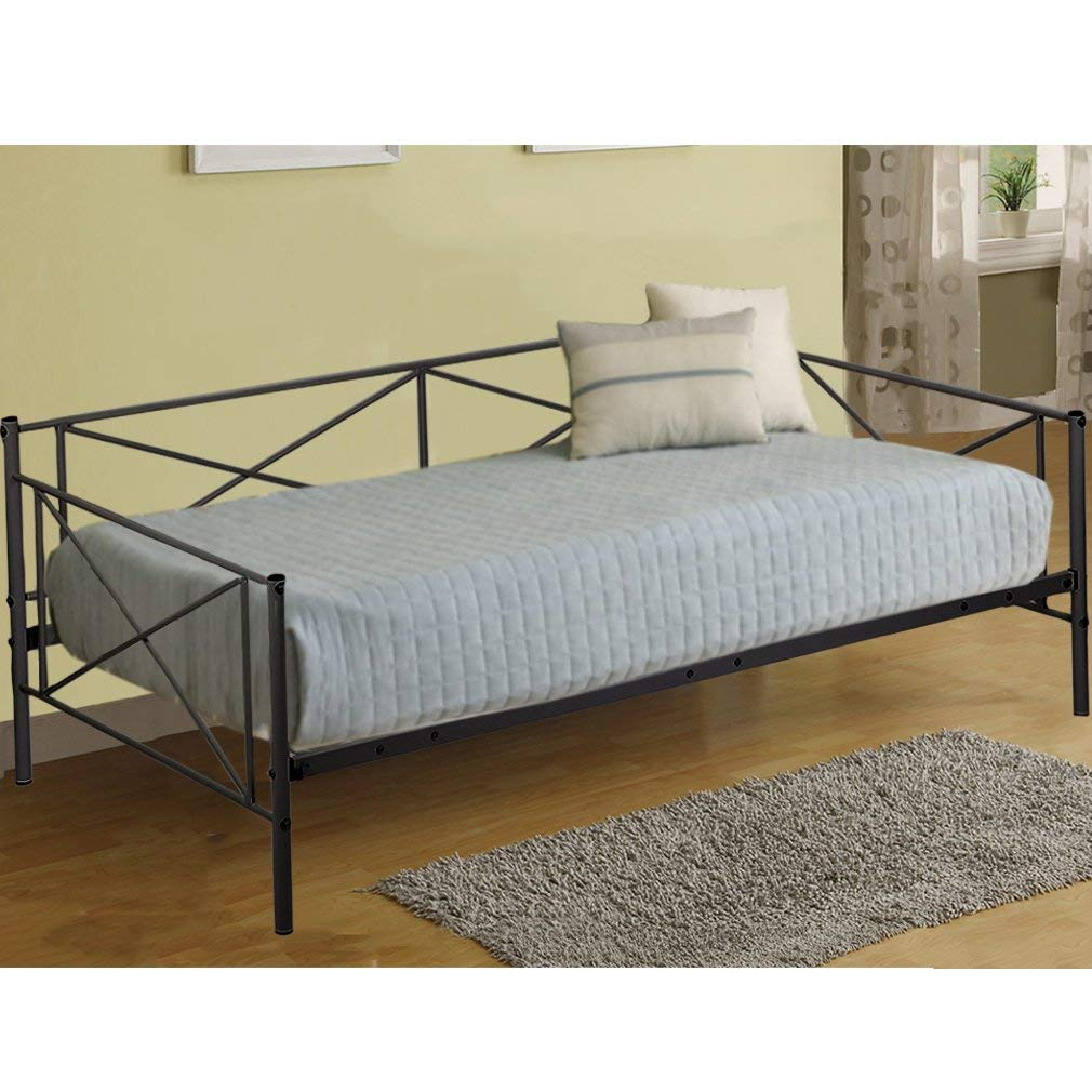 Daybed Frame Metal Platform Bed Mattress Foundation Twin Heavy Duty Steel Slats Box Spring and Foam Mattress Set for Living Room