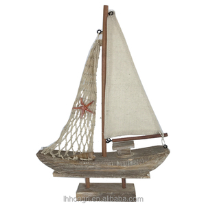 wholesale european retro wood decorative crafts sailboat wooden ornament