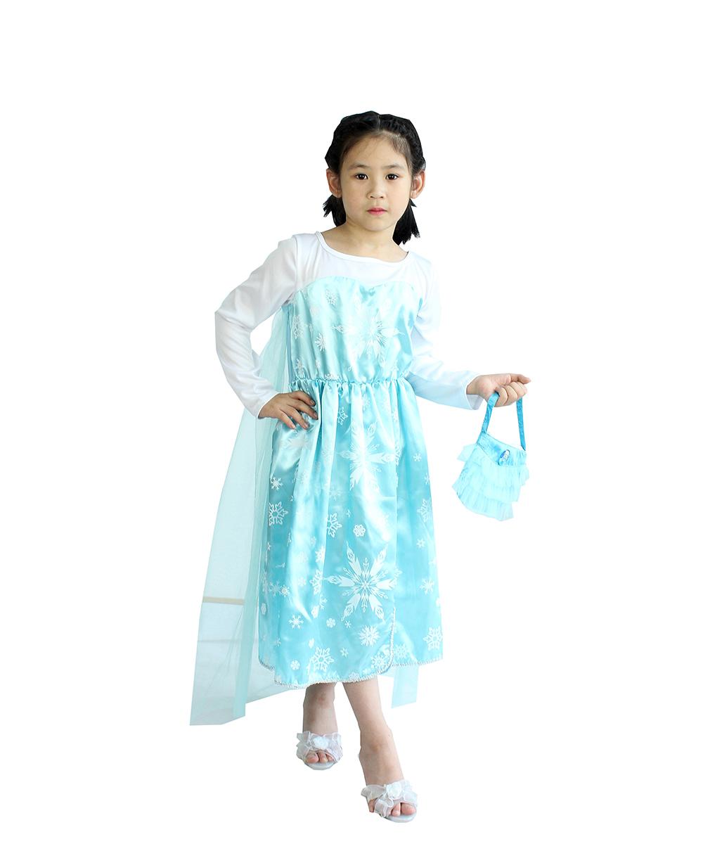 Frozen Elsa Dress Up Gown Costume Ice Princess Queen Dress Frozen ...