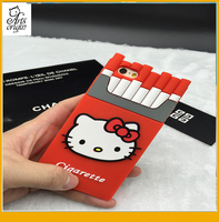 Hello kitty 3d cigarette phone case silicone case for iphone 6 6s 6plus
