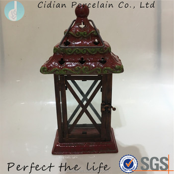 Christmas tree shape copper color ceramic hanging Lantern light