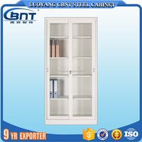 Metal glass two doors office filing storage shelves cabinet