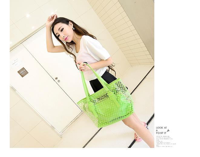 2015 summer bag new tide wave transparent jelly candy bag beach bag leisure joker color female bag