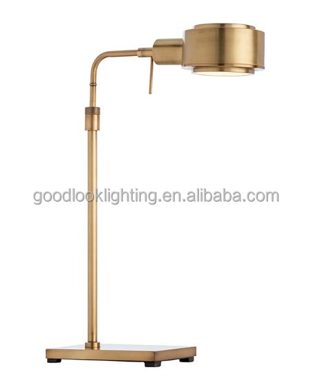 (C)UL&ETL listed natural brass and clear frosted acrylic accent w/antique aged brass finish led hotel table lamp /desk lamp