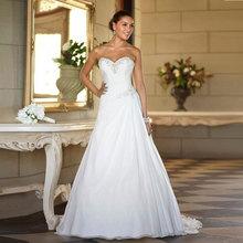 2016 In Stock Custom Made Wedding Dresses Vestido de Noiva Casamento Robe De Mariage Sweetheart Chiffon Plus Size
