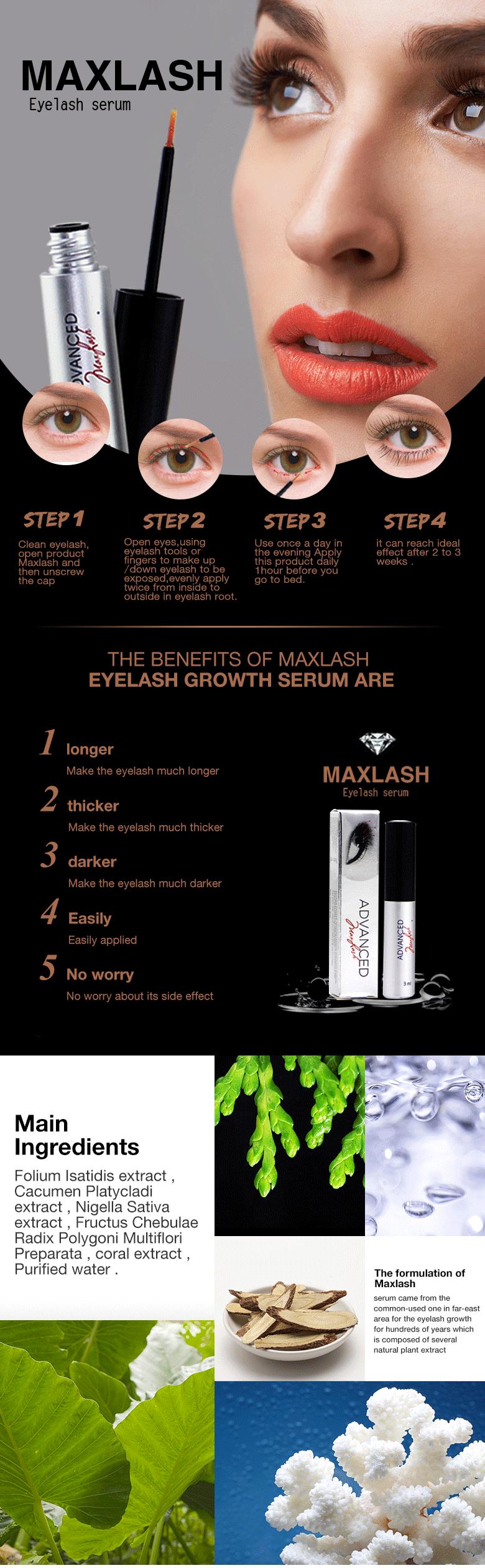 MAXLASH Tự Nhiên Lông Mi Huyết Thanh Tăng Trưởng lông mày huyết thanh tăng trưởng