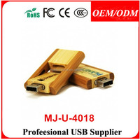 Swivel Bamboo Wooden USB Flash Drives Black Laser Logo Engraving