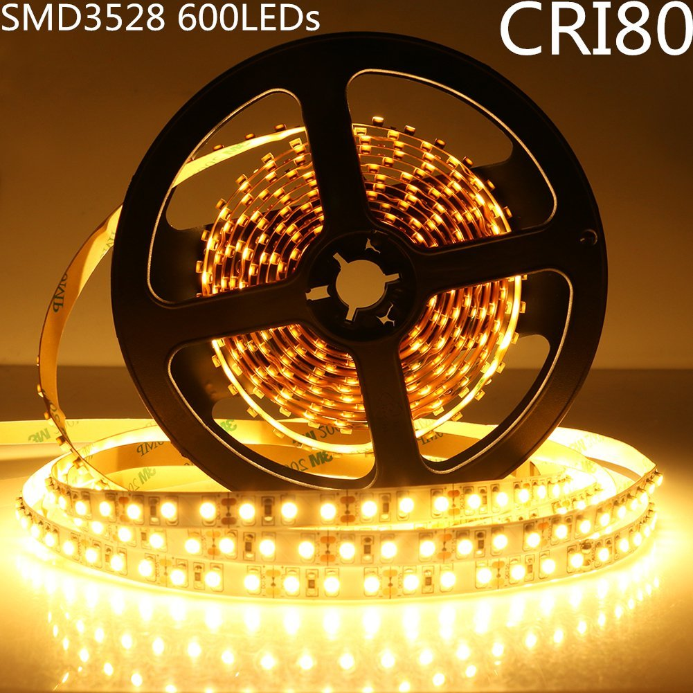 LightingWill LED Strip Lights CRI80 SMD3528 600LEDs 16.4Ft/5M Ultra Warm White 2700K-3000K DC12V 48W 120LEDs/M 9.6W/M 8mm White PCB Flexible Ribbon Strip with Adhesive Tape Non-Waterproof M3528UWW600N