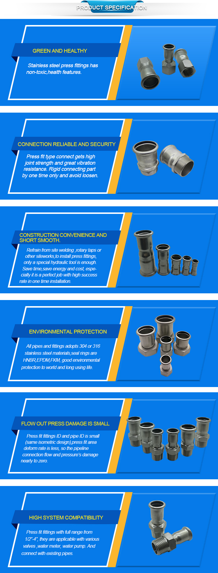 M Profile 304 Stainless Steel Reducing Coupling Press Fitting