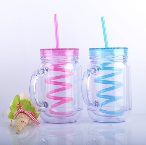 2015 New Products Double Wall Plastic Mason Jars Wholesale