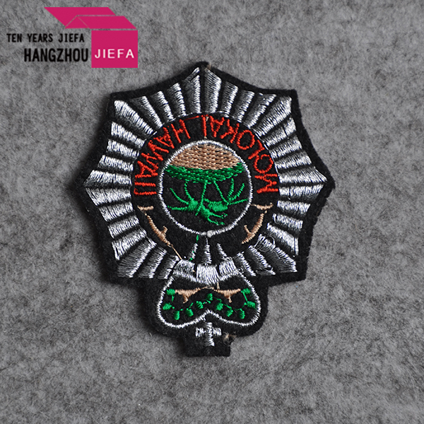 custom round patch heat press embroidered woven patch in low price