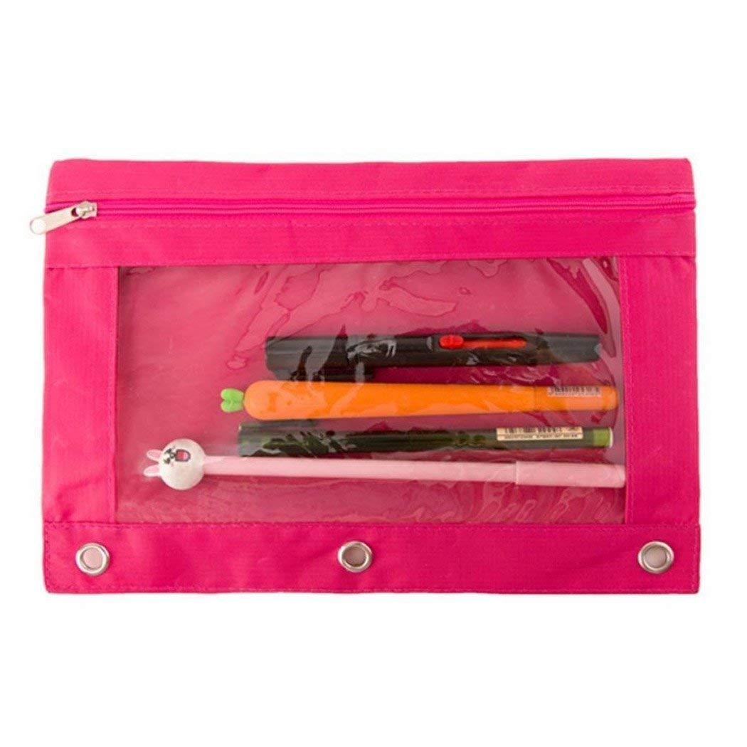 Justdolife Pencil Pouch Pen Holder Bag Creative 3-Ring Large Capacity Oxford Zipper Pencil Organizer Bag