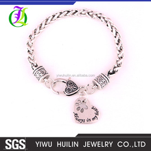 Yiwu Huilin Jewelry Always in my Heart Paw Print Heart Pet Lover charm metal fashion bracelet