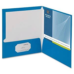 Business Source - Two Pocket Folder, Ltr, 2-Pkts, 100 Shts, 25/BX, BE, Sold as 1 Box, BSN 44423