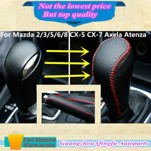 High Quality Leather Black Gear Sets Shift collars Knob handbrake Sticks frame For Mazda 2/3/5/6/8 CX-5 CX-7 Axela Atenza etc…