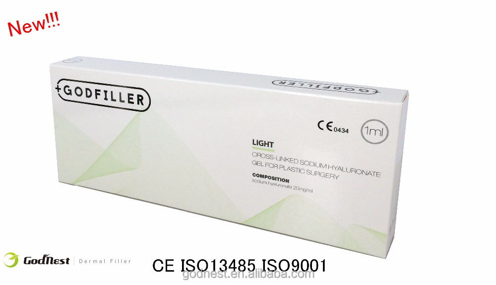 Cross linked injectable hyaluronic acid dermal filler for eyes around light wrinkles, plastic surgery Light 1ml