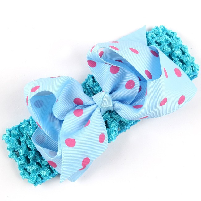 14Colors אופנה חמה ילדים תינוק תינוק תינוק בנות פולקה דוט bowknot סרט רחב הכובעים Hairband ראש חתיכה אביזרים