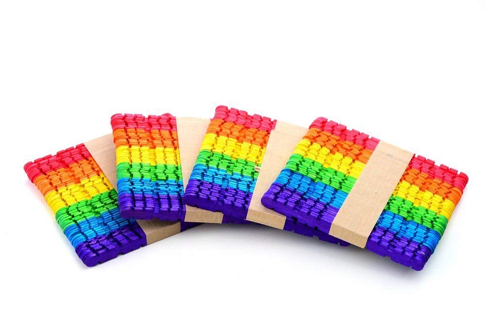 HomeABC Multi-Coloured Serrated Wooden Jumbo Craft Sticks Popsicles Stick, 400 Pcs