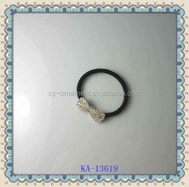 metallic crystal bow decorative rubber band