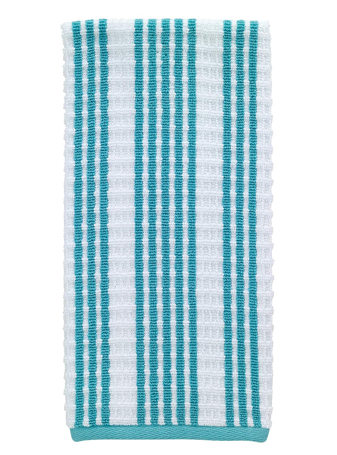 "T-fal Textiles Striped Waffle 100% Terry Cotton, Highly Absorbent, Anti-Microbial, Oversized Kitchen Towel, 16"" x 28"", Breeze"