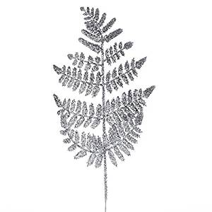 Factory Direct Craft® Group of 12 Silver Glittered Artificial Fern Picks for Embellishing Florals, Centerpieces, and More