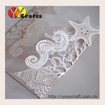 Amazing White Seahorse Starfish Laser Cut Fancy Wedding Invitation ...