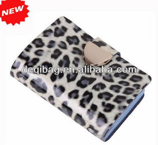 Fashion Leopard Animal Prints PVC Name Credit Card Wallet Holder Bag,Christmas Holiday Promotion Gifts