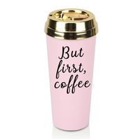 Bpa Free Customized Double Wall Plastic Warm Drinkware Hot Pink Gold Lid Logo Insulated Coffee Mug