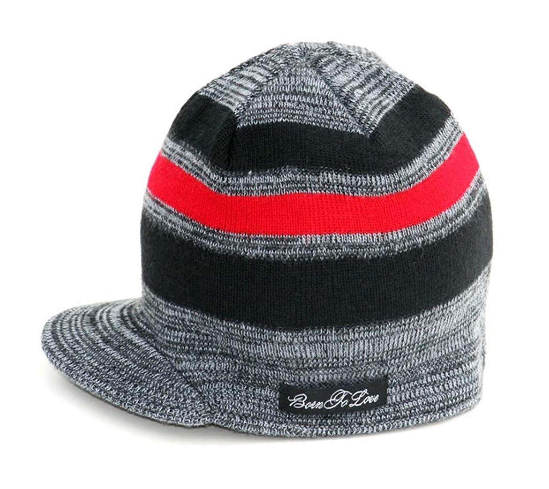 b2a9194ee8 Buy Knuckleheads - Black Boys Baby Visor Beanie Hat with Stripes ...