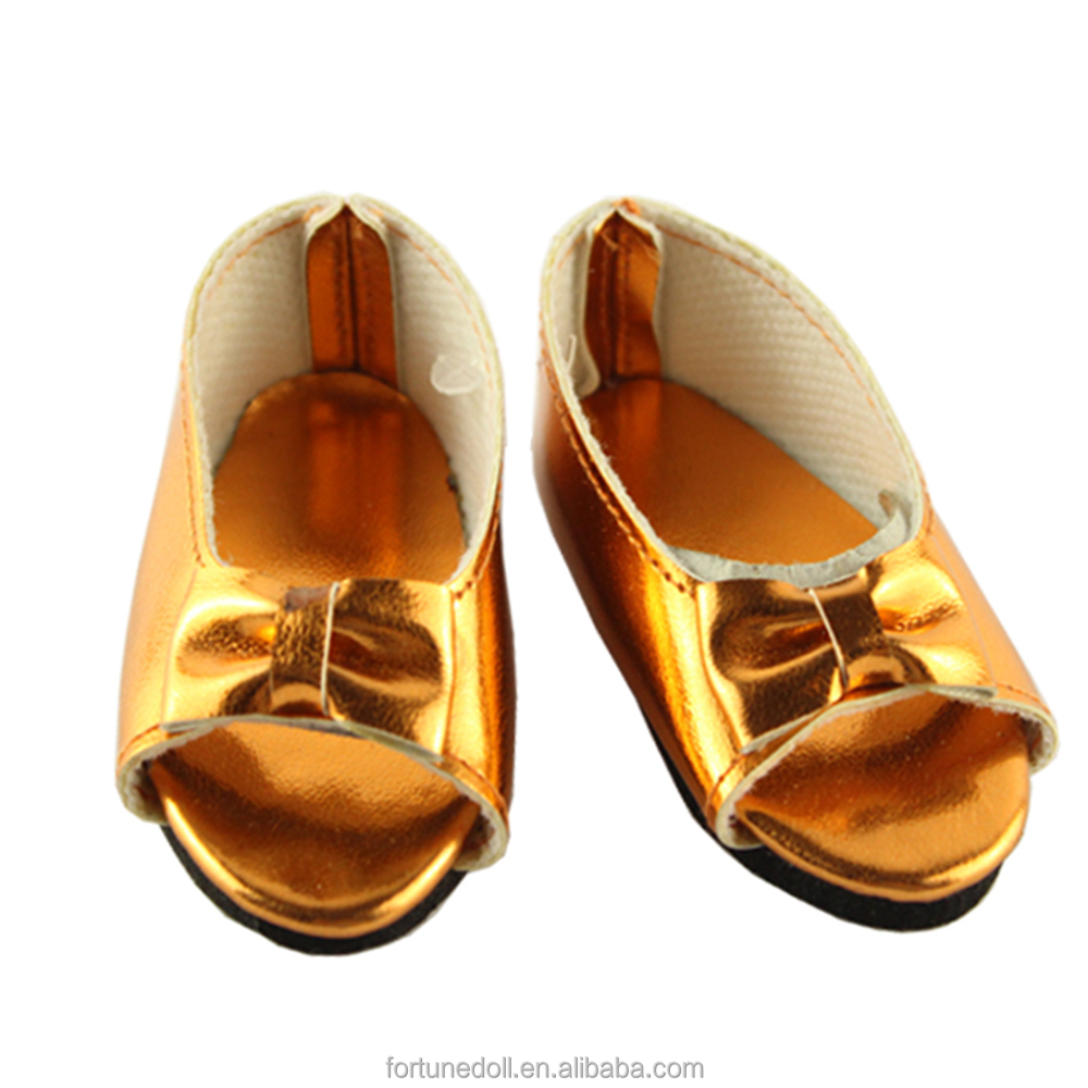 JC009-doll shoes- 18 inch doll bright gold summer bow slipper-fits for american girl doll
