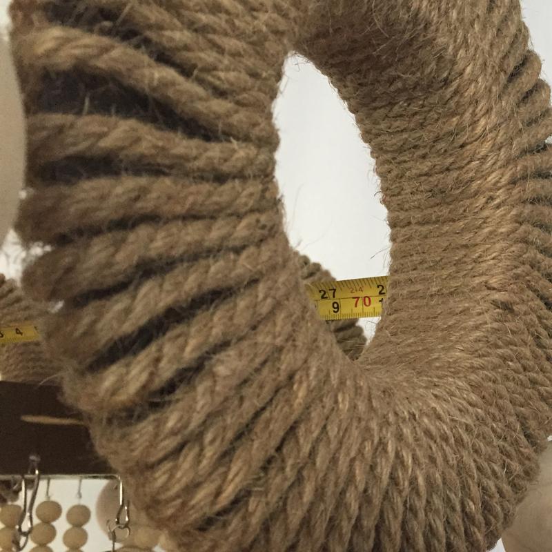 Mid century style large hemp rope hanging wood pendant lamp hotel villa luxury industrial vintage wooden beaded chandelier