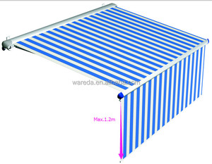 Retractable folding arm awning with vertical blinds