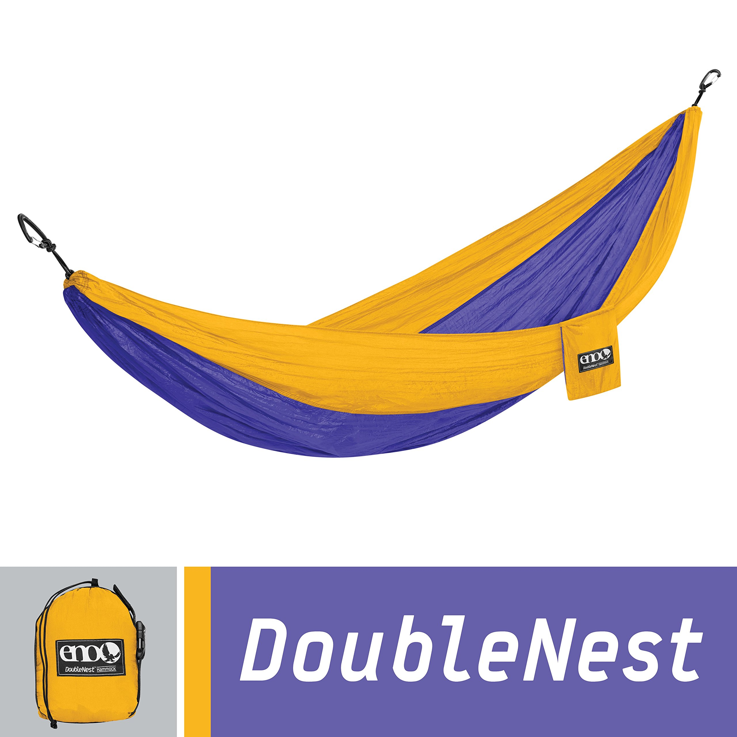 ENO Eagles Nest Outfitters - DoubleNest Hammock, Portable Hammock for Two, Purple/Marigold