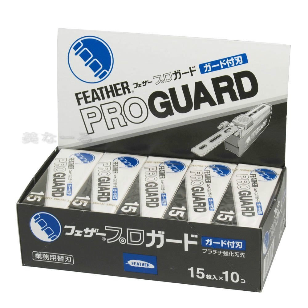 Straight Razor Refills Blades FEATHER Artist Club PRO GUARD Blade PG-15 Refill x 10Packs 150 Blades Japan