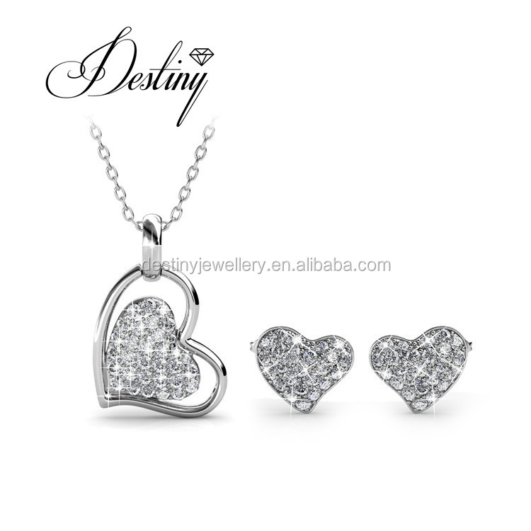 Destiny Jewelry Heart Pendant and Earrings Crystal Jewelry Set from Swarovski DS070