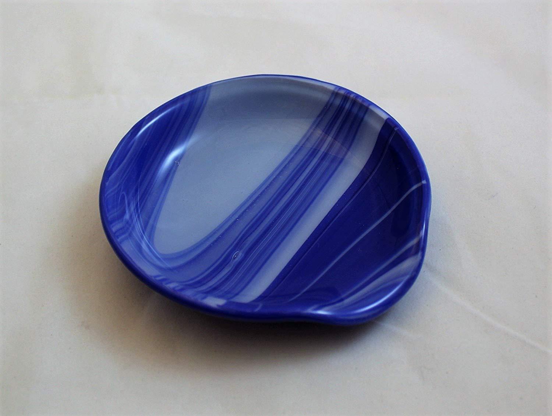 Dark Blue and White Swirl Spoon Rest, Round Fused Glass Spoon Rest, Spoon Holder, Spoon Rest, Spoonrest,