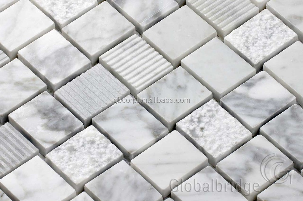 Fashion square shape marble stone tiles tv background wall design