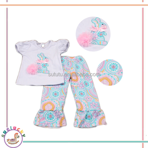 boutique unique style white shirt with chiffon rabbit printing ribbon malaysia india wholesale price kids clothing