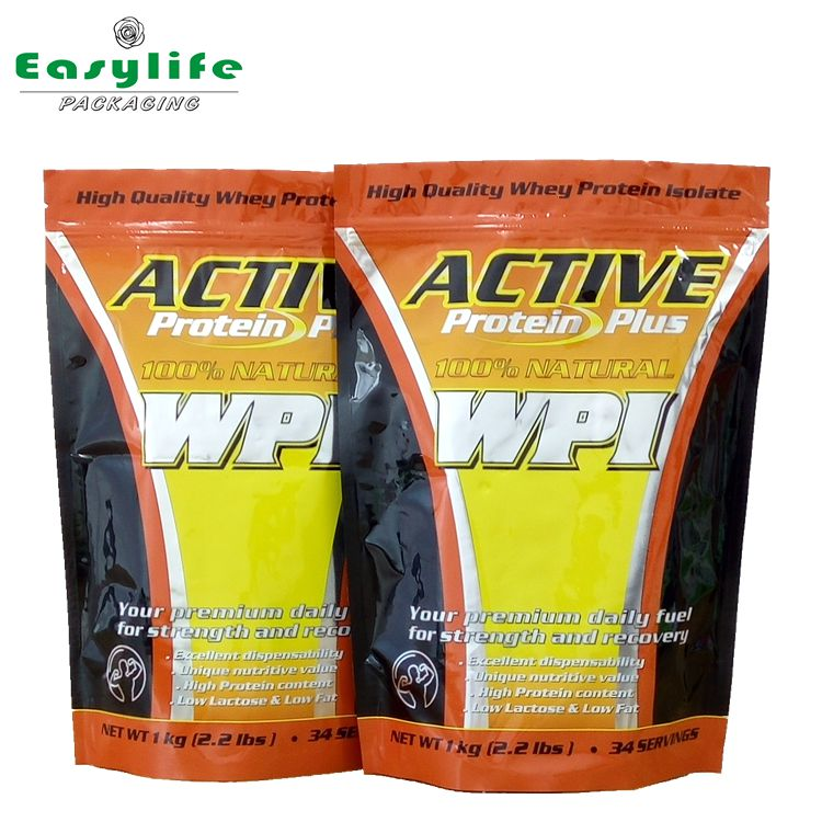 Whey Protein Powder Bag Packing / Pure Aluminum Foil Whey Protein Powder Packaging Pags/Stand Up Ziplock Bags