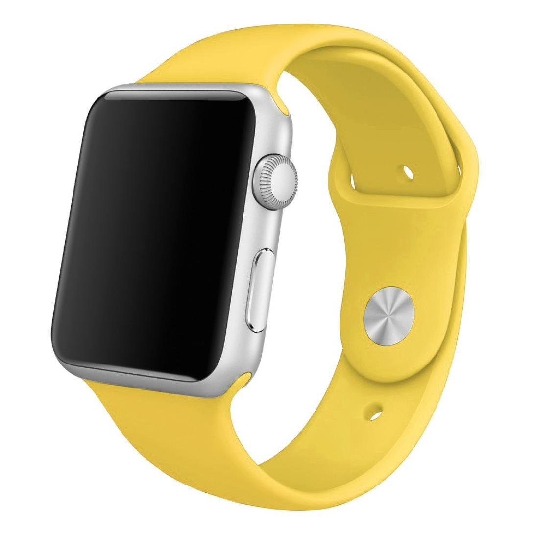 For Apple Watch Band , HP95(TM) Soft Silicone Replacement Sport Watch Band for Apple Watch 38mm/ 42mm All Models (42mm, Yellow )